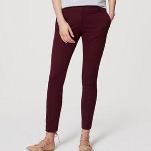 LOFT Burgundy Marisa Skinny Ankle Zip  Pants